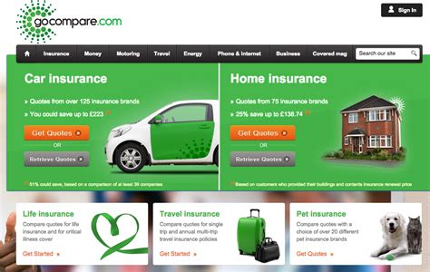 Go Compare Car by How Do Home Insurance Landing Pages Perform Econsultancy