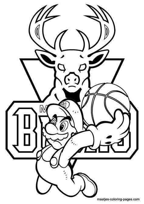 mario basketball coloring page milwaukee bucks and super mario nba coloring pages