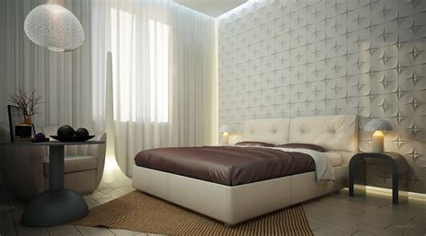 Bedroom Feature Wall Designs White Bedroom Textured Feature Wall Interior Design Ideas