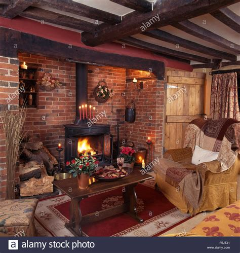 Living Room Ideas With Inglenook Fireplace Wood Burning Stove In Inglenook Fireplace In A Beamed
