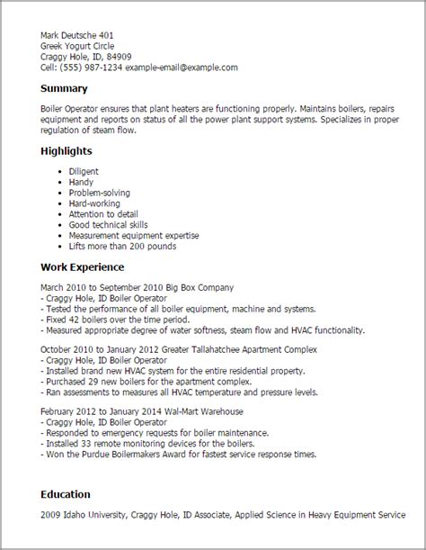 Professional Boiler Operator Templates To Showcase Your Talent Myperfectresume Boilermaker Resume Templates Free