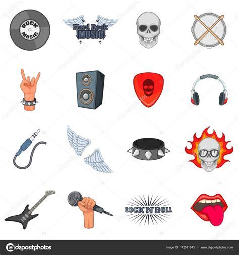 imagenes vectores rock 205 conos de la m 250 sica rock set estilo de dibujos animados