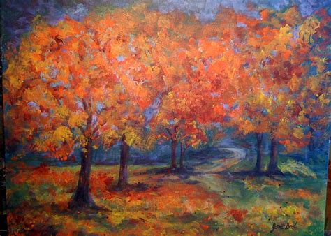 acrylic paint tree painting fall trees in acrylic images