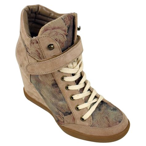womens wedge trainer boot hi top floral trainers wedges