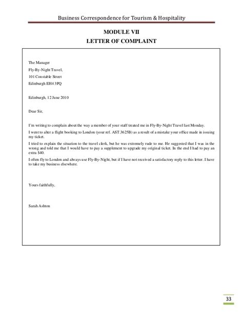 Complaint Letter Template To Travel Business Correspondence For The Tourism Industry