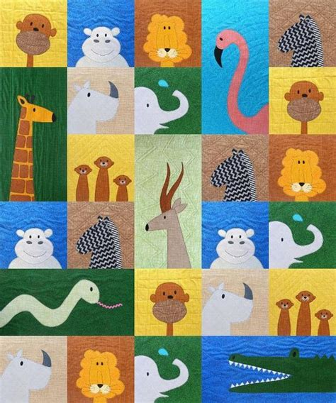 Animal Patchwork Quilt Patterns - safari applique animal quilt pattern home quilting