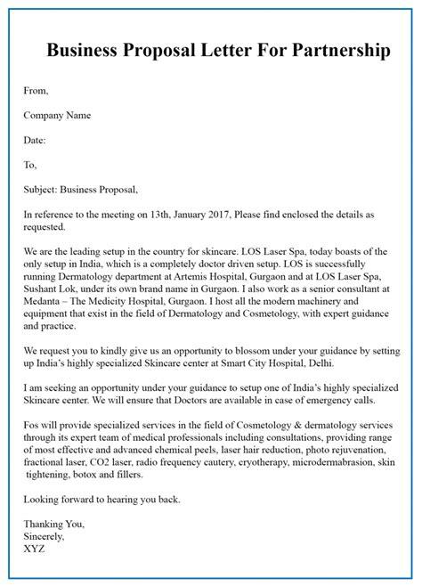 business letter partnership template sample