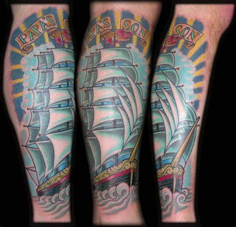 new school ship tattoo clipper ship by aaron goolsby tattoos