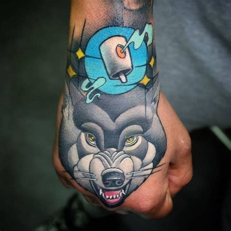 tattoo wolf new school new school wolf tattoo on the right hand animal tattoos