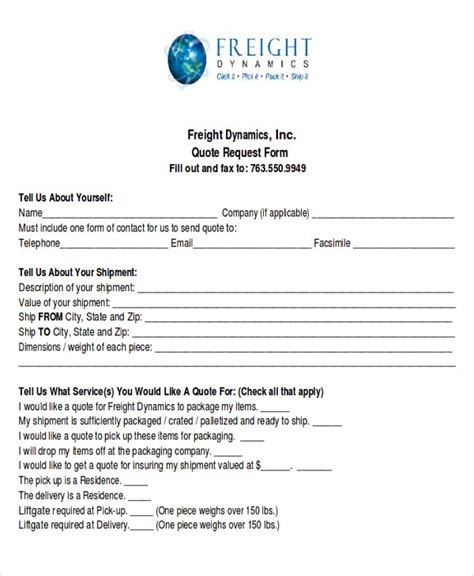 quote forms template 12 sle quote request forms sle templates