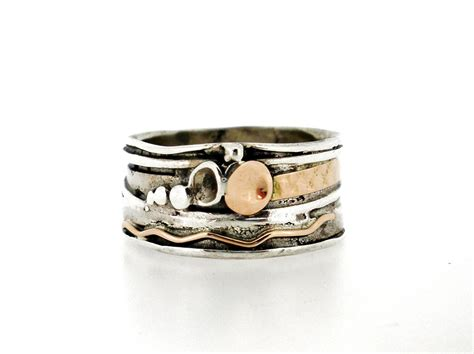 Handcrafted Silver Rings - handcrafted silver gold ring unique design by amir poran