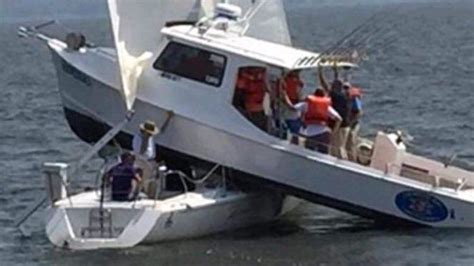 fishing boat charter chesapeake bay chesapeake bay crash charter boat lands on top of sailboat