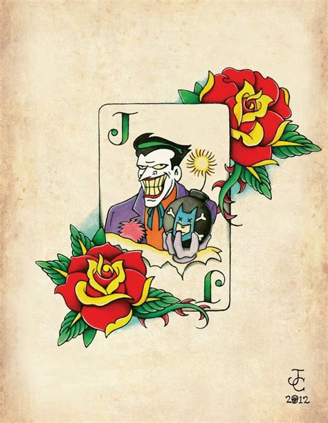 neo traditional tattoo flash joker card neo traditional school flash print