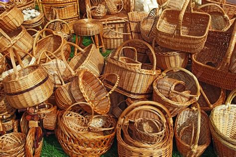 Handmade Souvenir - various handmade baskets for sale at a souvenir market in