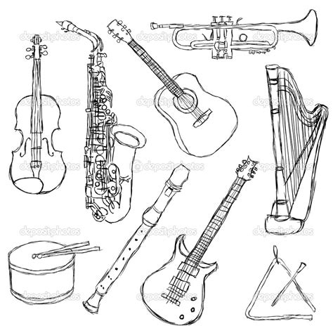 chinese instruments coloring pages music instruments drawings