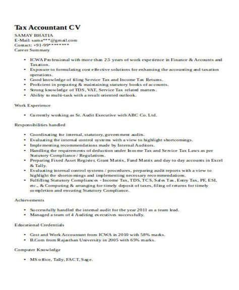 sle of resume for accountant 33 accountant resume sles