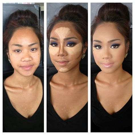 how to make narrow face look wider notice how applying darker foundation color on the nose