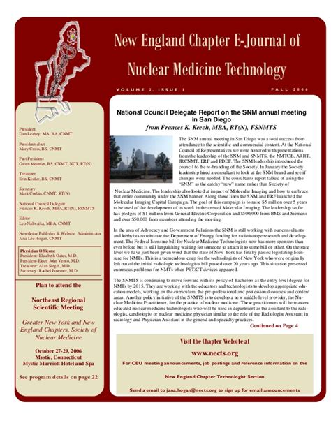 Mba Degree Nuclear Medicine Technology by New Chapter E Journal Of Nuclear Medicine Technology