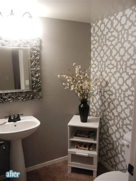 bathroom accent wall ideas grey bathroom with stenciled accent wall bathroom
