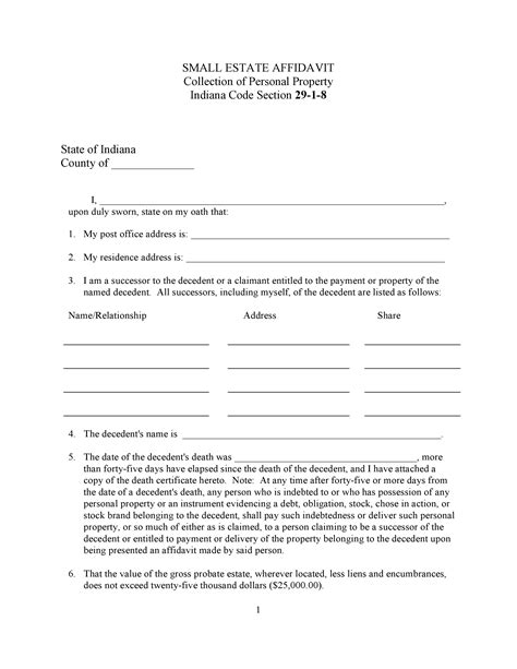 Probate Code Section 45 by Free Indiana Small Estate Affidavit Form Pdf Word Template