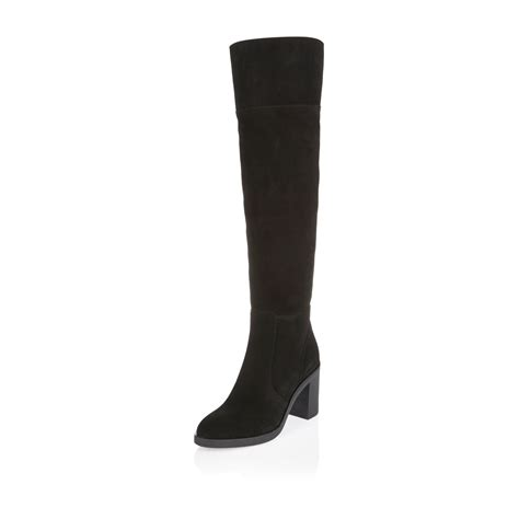 river island black suede knee high boots in black lyst