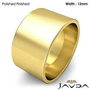 men s plain wedding band flat pipe cut ring 12mm 14k
