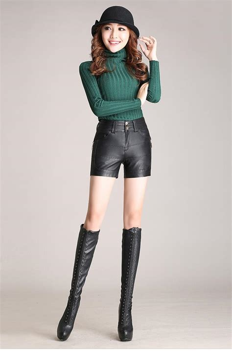 shorts for women 60 plus new winter pu leather shorts women boots high waist