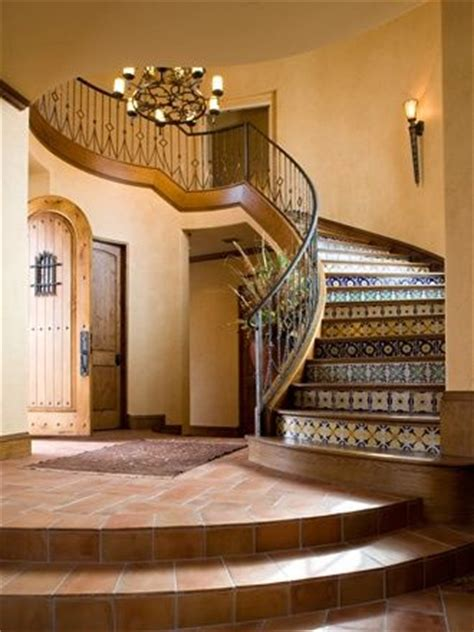 Foyer En Español colonial with raised foyer stairs colonial and tiled