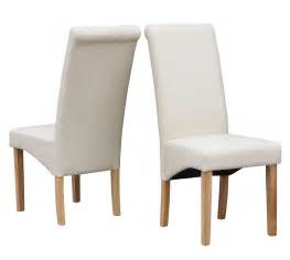 Cream modern dining room chair faux leather roll top scroll high back solid wood ebay