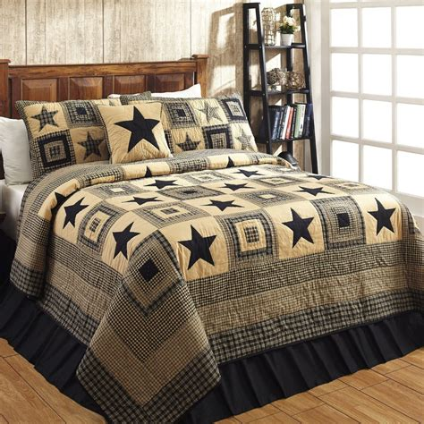 quilted bedding sets colonial star black tan quilted bedding set dl country