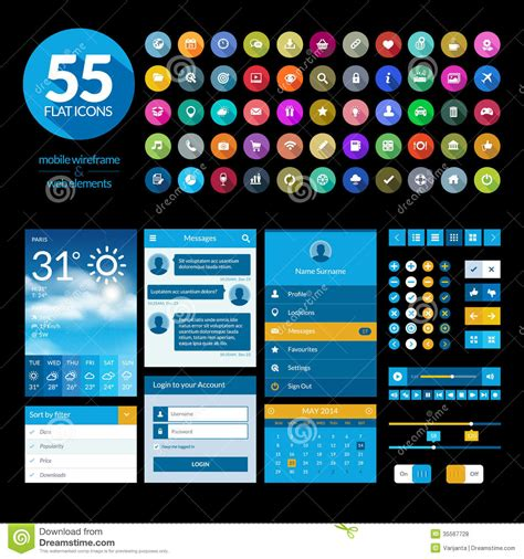app design elements vector set of flat design ui elements and icons stock vector