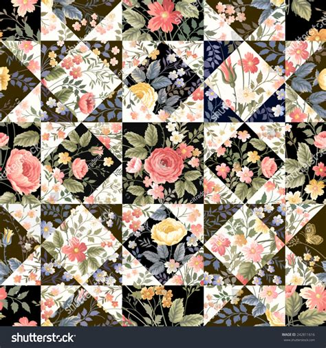Patchwork Flowers - seamless patchwork pattern flowers stock vector 242811616
