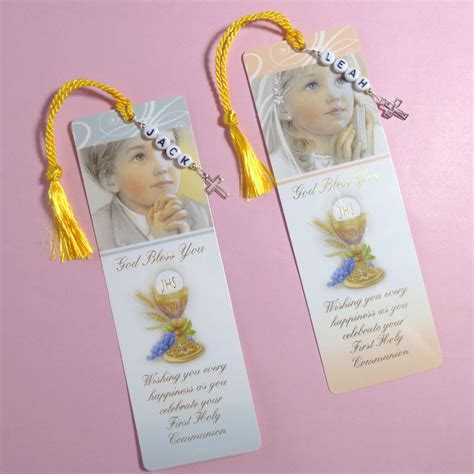 Holy Communion Cards And Gifts - boy girl personalised cross charm first holy communion bible card bookmark gift ebay