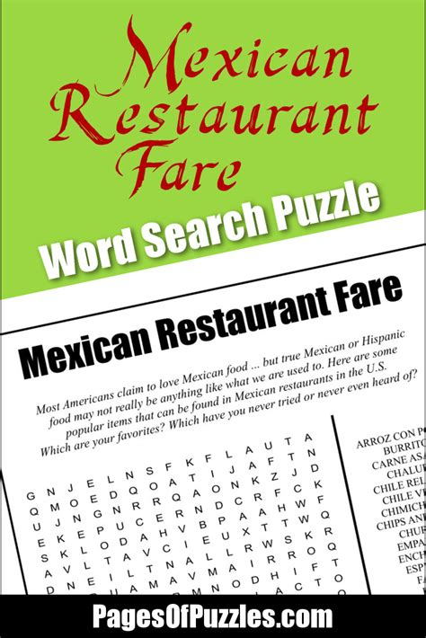 Mexican Search Mexican Restaurant Fare Word Search Pages Of Puzzles