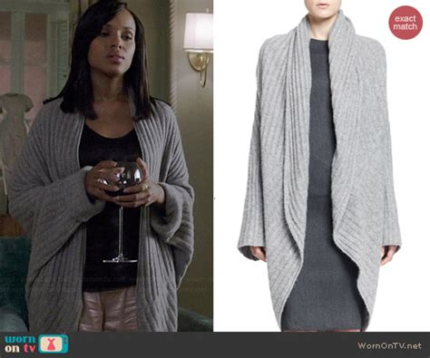 Pope Wardrobe Grey Coat by Wornontv Olivia S Grey Ribbed Oversized Cardigan On