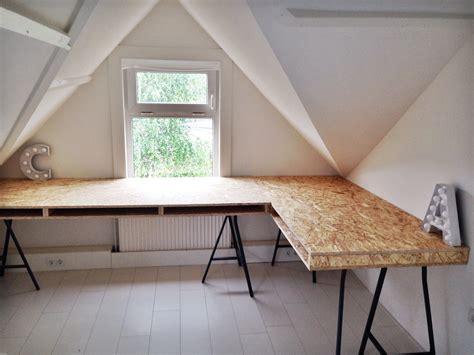 bureau en osb zelfgemaakt bureau mooi op maat diy doityourself osb