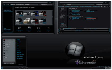 themes for windows 7 black glass theme windows 7 dark glass elegant kuyhaa me