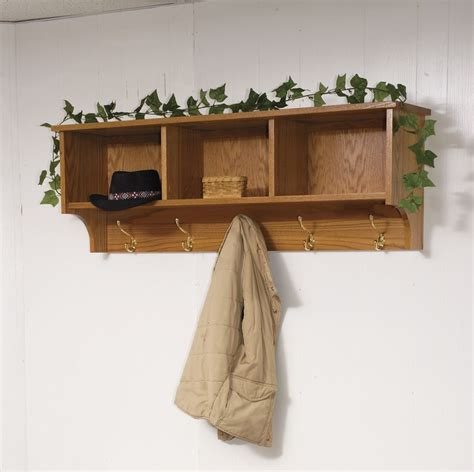 Wall Coat Hooks With Shelf by Amish Traditional Hanging Wall Shelf With Storage And Coat
