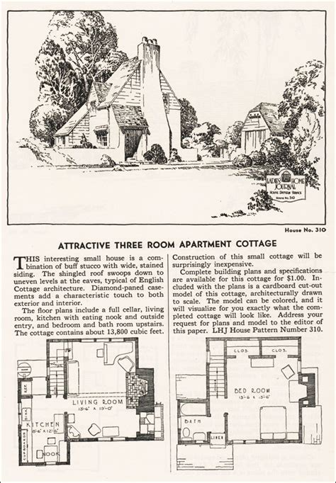 Dutch Colonial Floor Plans by 1935 Eclectic English Cottage Ladies Home Journal