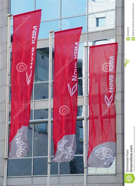 kreditna banka maribor flags of slovenian bank kbm editorial stock image