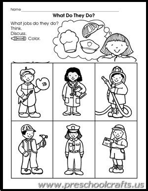 Community Helpers Free Worksheets For Kindergarten