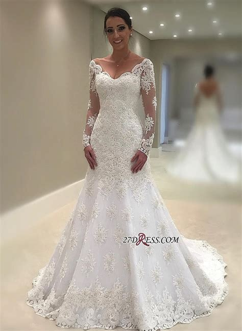elegant long sleeve wedding dress  mermaid lace