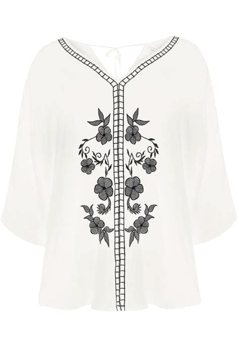 Android Sketch Raglan yours white floral embroidered cape top plus size