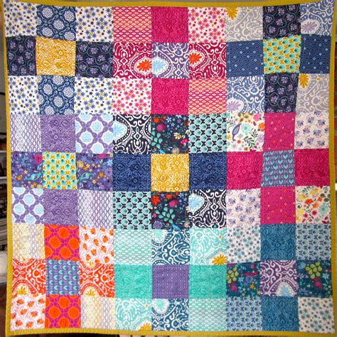 Patchwork Quilt Fabric - easy 9 squared charm pack quilty silk road
