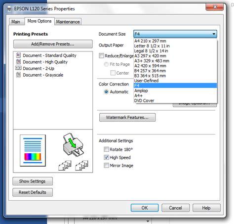 Printer Bisa Fotocopy F4 tips dan cara membuat atau menambahkan ukuran kertas pada