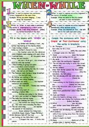 past continuous tense esl printable worksheets and exercises
