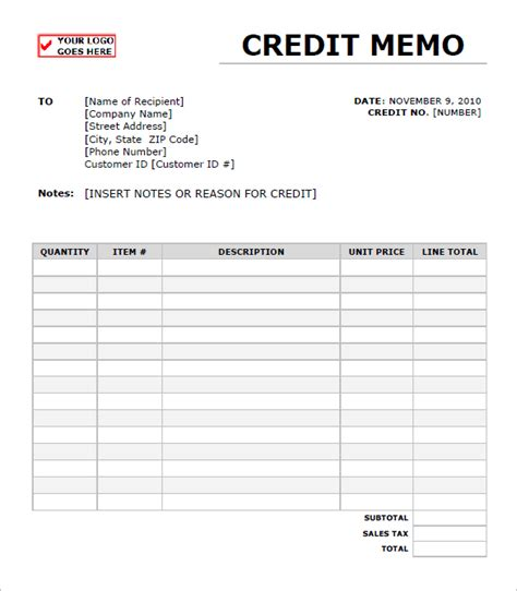 credit note template doc credit note template excel free