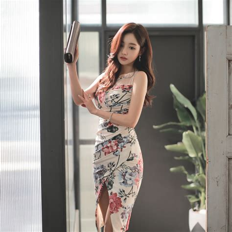 Korean Style Flower Dress korean style flower printing club dress office work formal