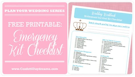 printable wedding planner for bridesmaids wedding emergency kit checklist wedding planning series