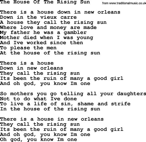 Dolly Parton Song The House Of The Rising Sun Lyrics